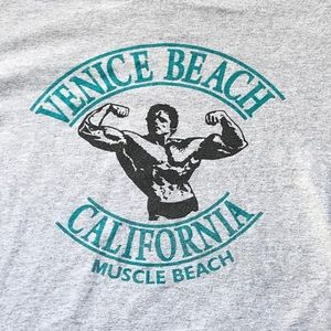 Venice Beach Gray Tee with teal lettering | size M